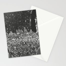 philadelphia city skyline black and white Stationery Cards