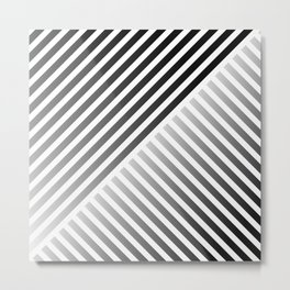 Stripes In Black & White 2 Metal Print