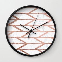 Modern faux rose gold herringbone chevron pattern Wall Clock