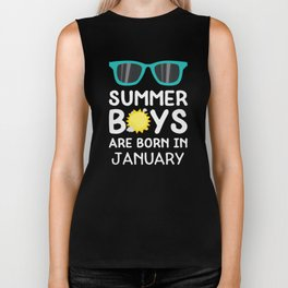 Summer Boys in JANUARY T-Shirt for all Ages Dzrng Biker Tank