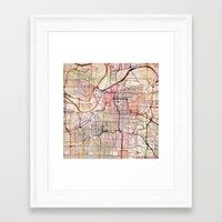 kansas city Framed Art Prints featuring Kansas City by MapMapMaps.Watercolors