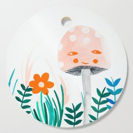 pink mushroom with floral elements Cutting Board