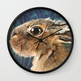 Hare on Blue Wall Clock