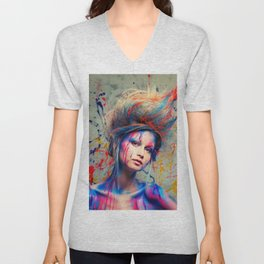 Young woman muse with creative body art and hairdo (3) Unisex V-Neck