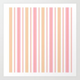 Coral and Gold Stripes Art Print