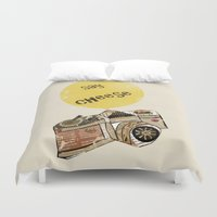 cheese Duvet Covers featuring say cheese by bri.buckley