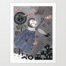 Snow Stars White, Snow Stars Bright Art Print