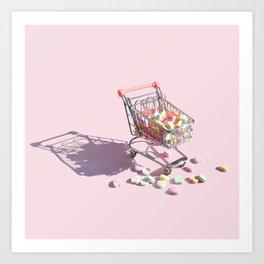 Candy Hearts Cart Art Print