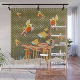 Birds over fishes over mushrooms ...who will win ? Wall Mural