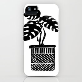 Monstera cheese plant house plant black and white minimal modern linocut art iPhone Case