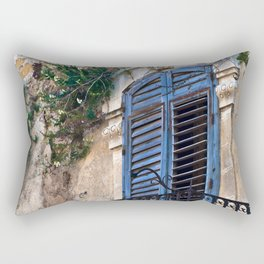 Blue Sicilian Door on the Balcony Rectangular Pillow