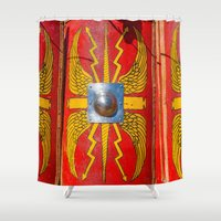 military Shower Curtains featuring Roman Military Shield - Scutum by digital2real
