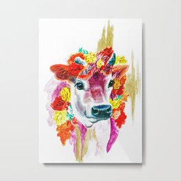 Pink Yoga Cow Metal Print