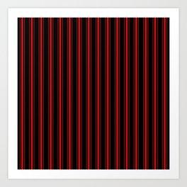 Mattress Ticking Wide Striped Pattern Red on Black Art Print