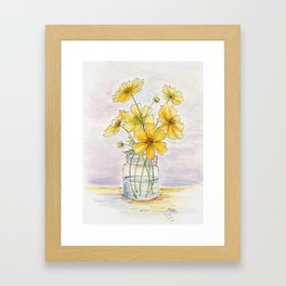 Yellow Cosmos, Still Life Framed Art Print