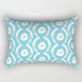 Elegant Aqua-Teal and White Contemporary, Modern Pattern Rectangular Pillow