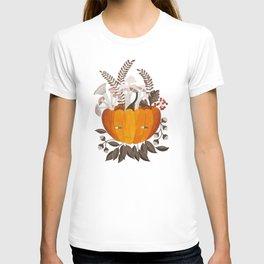 Autumn pumpkin with pink mushrooms watercolor illustration T-shirt