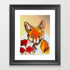Fox in Sunset Framed Art Print