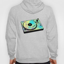 Vintage Retro DJ Turntable Vinyl Record 80s Gift Paint Splatter Hoody