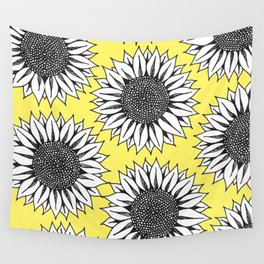 Yellow Sunflower in Black and White Hand Drawing Wall Tapestry