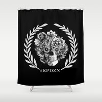 ohm Shower Curtains featuring Screwed and tattooed Ohm Skull by Kristy Patterson Design