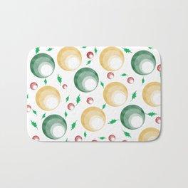 Christmas Balls and Holly Print Bath Mat