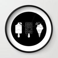 ice cream Wall Clocks featuring ice-cream  by Li9z