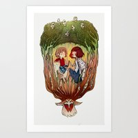 princess mononoke Art Prints featuring Mononoke by Niklisson