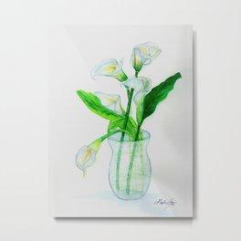 White Calla Lilies Metal Print