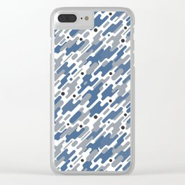 Modern Camouflage Blue Marine Army Pattern Clear iPhone Case