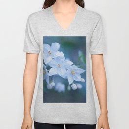 Jasmine Nightshade Flowers #1 #floral #art #society6 Unisex V-Neck