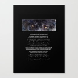 TWO WOLVES CHEROKEE  Native American Tale Canvas Print