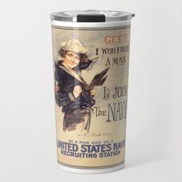 Gee Navy Girl WW1 Vintage Propaganda Poster Travel Mug