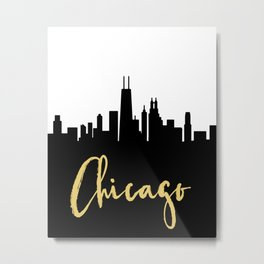 CHICAGO ILLINOIS DESIGNER SILHOUETTE SKYLINE ART Metal Print