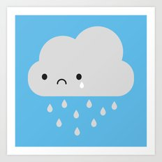 Sad Kawaii Rain Cloud Art Print