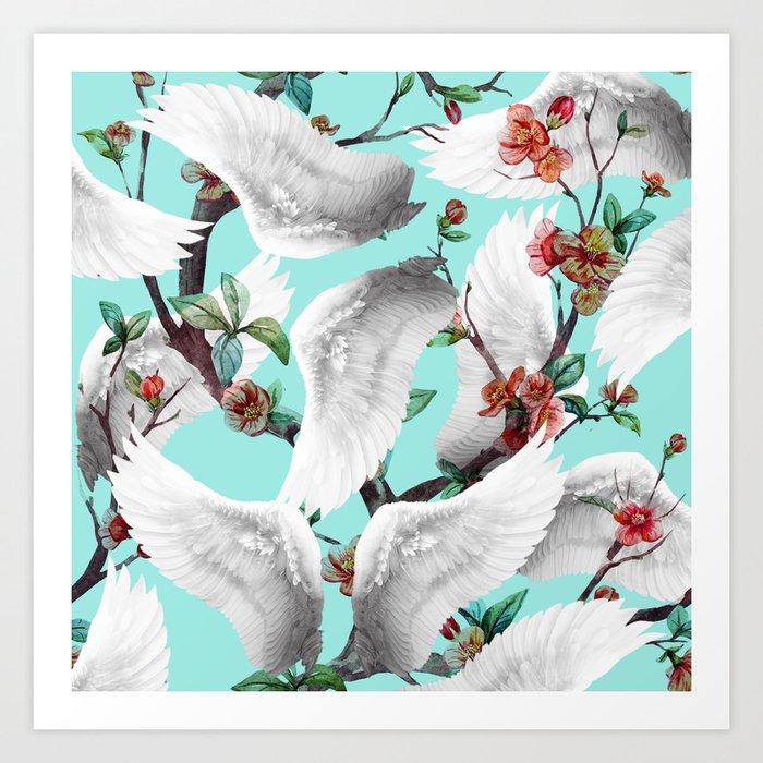 tropical wings flowers Art Print