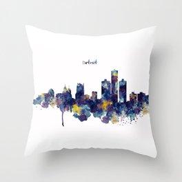 Detroit Skyline Silhouette Throw Pillow
