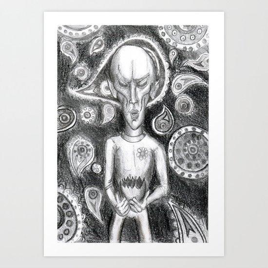 Alien peace offering Art Print
