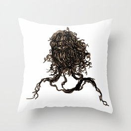 Messy dry curly hair 1 Throw Pillow