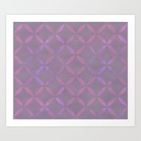 Round Pink Grey Pattern Art Print