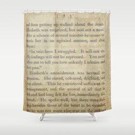 Pride and Prejudice  Vintage Mr. Darcy Proposal by Jane Austen   Shower Curtain