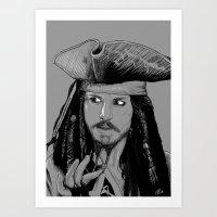jack sparrow Art Prints featuring Captain Jack Sparrow by Hazel