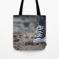 converse Tote Bags featuring Converse by AJ Calhoun