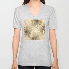 Art Deco Gold and White Geometric Ornate Pattern Unisex V-Neck