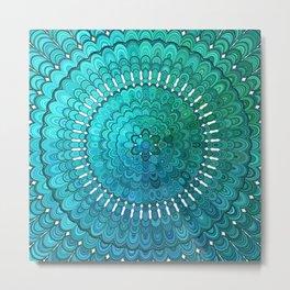 Turquoise Mandala Metal Print