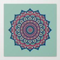 islam Canvas Prints featuring Mandala Blue by Mantra Mandala