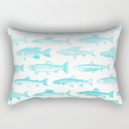 Fishes- Simple pattern in aqua on clear white Rectangular Pillow