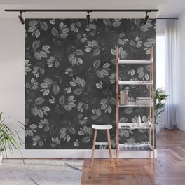 Black and White Leaves Pattern #1 Wall Mural
