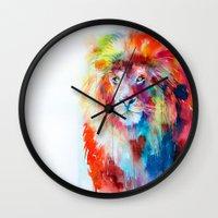 lion Wall Clocks featuring Lion by Slaveika Aladjova