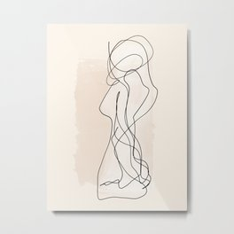 As One | Minimal Abstract Line Drawing Metal Print